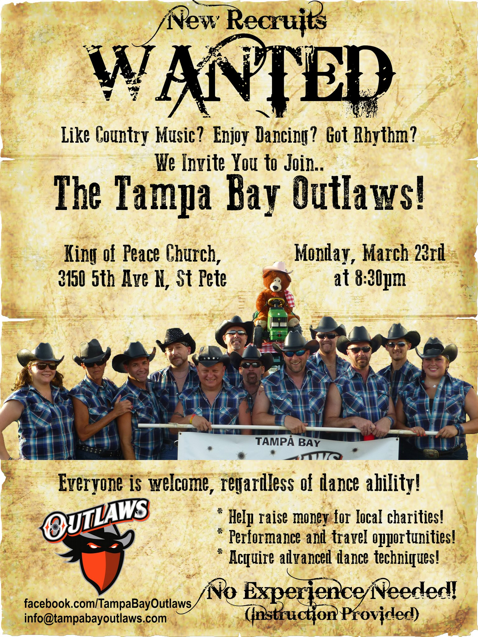 The Tampa Bay Outlaws, a Gay Country Western Dance Team, are recruiting. Photo Copyright 2015, Tampa Bay Outlaws.